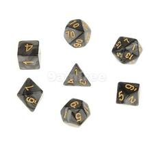 7pcs Multi Sided Dice TRPG Games Dungeons & Dragon D4-D20 Dices - Black
