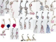 25 x dangle and gem navel belly bars, fairy bunny dolphin stars etc