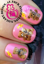 NAIL ART WRAP WATER TRANSFERS STICKERS DECALS SET TEDDY BEAR TEDDIES SWEETS #170