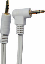 30cm White 3.5mm Stereo Jack to Right Angled 90 degree Jack Plug Gold contacts