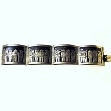 Huge Mexican Sterling Silver Mariachis Bracelet Antique Vintage Taxco Mexico 925