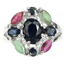 GENUINE GREEN EMERALD,RED RUBY,BLUE SAPPHIRE STERLING 925 SILVER CLUSTER RING 7#