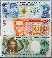 Philippines set of 3 different 2, 5 and 10 Piso Au-Unc.
