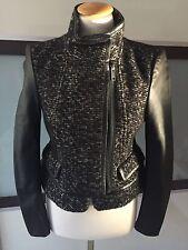 ZARA Jacke Biker Tweed Blazer Jacket Mottorad Real Leather Jacket M 38 Neu