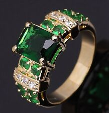 Fashion Size 8 Nobby Luxury Emerald 18K Gold Filled Ring For Womens  Engagement