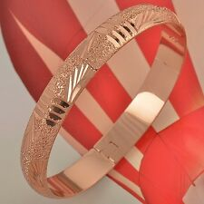 Patterned 9K Rose Gold Filled Womens Bangle Bracelet Simple Style Jewerly