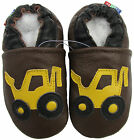 carozoo forklift brown 6-7y soft sole leather kids shoes slippers