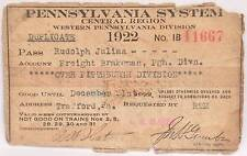 1922 Employee Annual Pass PRR Railroad Railway Pennsylvania Central Western