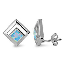 MODERN CONTEMPORARY! Blue Australian Opal .925 Sterling Silver Earrings