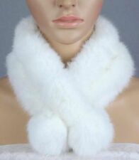 Women Real Rabbit Fur Scarf Shawl Collar Stole Cape Winter Scarf Wrap Two Ball
