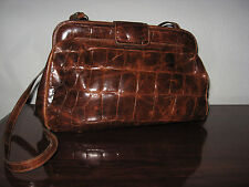 Vintage FURLA Brown Leather Croc Embossed Purse  Handbag  Satchel Clutch ❤ Italy