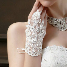 one pair ivory short lace fingerless bridal wedding glove - brand new UK seller