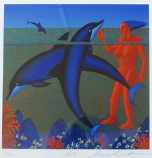 Bob Marchant - Dancing Dolphins S/N with very nice mat and frame-ready to hang