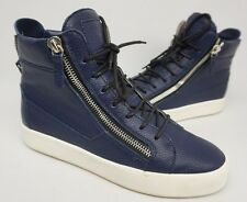 Giuseppe Zanotti Double-Zip Sneakers Men's Blue Pebbled Leather Shoes Size 42