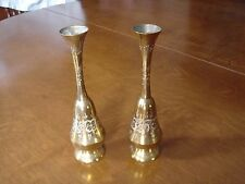 "VINTAGE PAIR OF DECORATIVE BRASS VASES 6 1/2"" HIGH MARKED INDIA 1958 VGC"