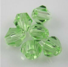 Free shipping 100pcs 4mm Loose Glass Crystal #5301 Bicone beads Green colors E-1