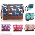 Ladies Sausage Dog Canvas Shoulder Cross Body Bag Messenger School Bag Purse