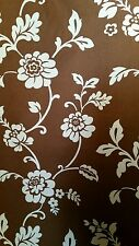 Curtain fabric approx 6 yards brown floral print  globatex design 137cm wide