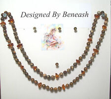 """Leopard Jasper & Baltic Amber With 14k Gold Filled Beaded Necklace.LJAS001. 31"""""""