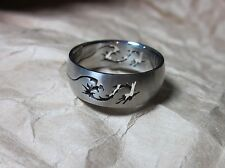Stainless Steel   Wide Band  DRAGON RING   Lazer Cut  Sz 12-14  Unisex  Tribal