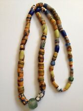 "Antique Vintage African Bead 32"" Necklace Strung On Silver (b248)"