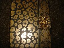 PUNCH STUDIO BLANK JOURNAL DIARY LEAPARD PRINT GOLD  & BLACK HARD COVER 7 X 5