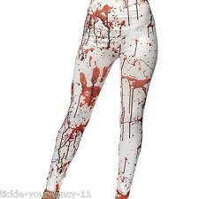 Women's Blood Stained Splatter Horror Leggings Zombie Halloween Fancy Dress