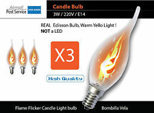 X3 3W E14 Flame incandescent Candle Flicker Light Bulb Decorative Lamp bombilla