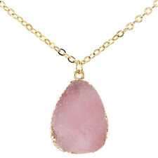 Gold Plated Chain Crystal Pendant Necklace Druzy Quartz Clusters Geode Jewelry