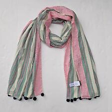 NWOT J Crew Printed striped pom-pom scarf  Green Pink Ivory SP15 $59.50 C2685