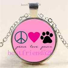 Peace Love Paws Photo Cabochon Glass Tibet Silver Chain Pendant Necklace