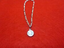 "14KT WHITE GOLD PLATED 9 1/2""  FIGARO ANKLET W/MINI LUCKY PENNY- USA SELLER"