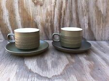 Denby Langley Camelot Forest Green Stoneware Cups & Saucers 2 Sets