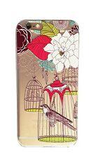 Coque gel souple incassable motif fantaisie pour iPhone SE (Oiseau en cage)