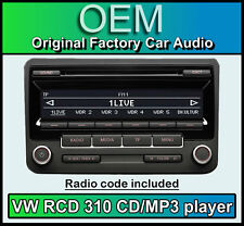 VW RCD 310 CD MP3 player, VW EOS car stereo headunit, Supplied with radio code