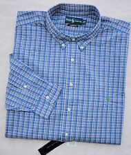 New 3XLT 3XL TALL POLO RALPH LAUREN Mens button down dress shirt blue checks 3XT