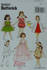 "Butterick 6001 Sewing PATTERN for Retro 18"" American Girl DOLL CLOTHES 6 Outfits"