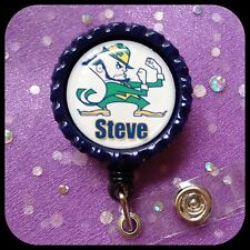 NOTRE DAME PERSONALIZED Name Bottle Cap ID Badge Holder Lanyard Work Clip RN
