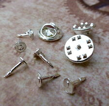 100 Small Tie Tacks Butterfly pinch back Pins Clutch Lapel Scatter Pin Silver