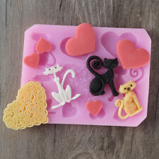 Cat and Heart Silicone Fondant Mold Cake Decorating Tools DIY Chocolate Candy
