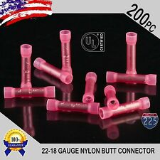200 Pack 22-18 Gauge Wire Butt Connectors Red Nylon 22-18 AWG Crimp Terminals US