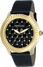 Invicta Women's Angel 100m Stainless Steel Black Leather Watch 22563