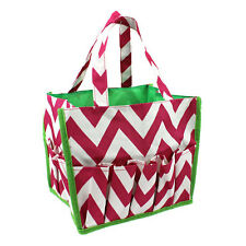 NEW!! Pink and White Lime Green Trim Chevron Zig Zag Pattern Bingo Bag Tote!