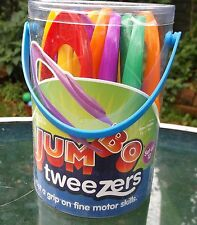 Tub of 12 new childrens LARGE EASY GRIP PLASTIC TWEEZERS for science / nature