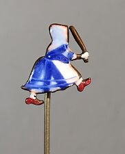Holland Enamel Old Dutch Advertisement Cleaner Chases Dirt Maid Stick Pin VTG