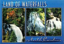 Postcard North Carolina Land of Waterfalls Crabtree Falls Cullasaja Falls MINT