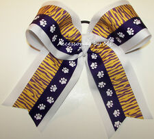 Purple Paw Print Cheer Bow Tiger Yellow Gold White Ponytail LSU Spirit Accessory