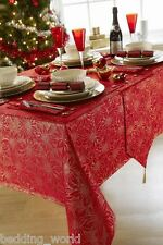 "70"" x 108"" EVE RED GOLD TABLE CLOTH POINSETTIA FLORAL SPARKLE XMAS CHRISTMAS"