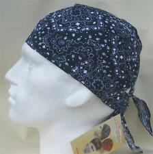 Fitted Bandana, Navy Blue Paisley,head wrap sun hat dark du do rag cap bandanna