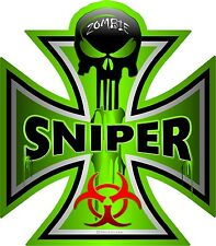 "1333 ProSticker (One) 5"" Zombie Sniper Decal Sticker Bio Iron Cross Skull"